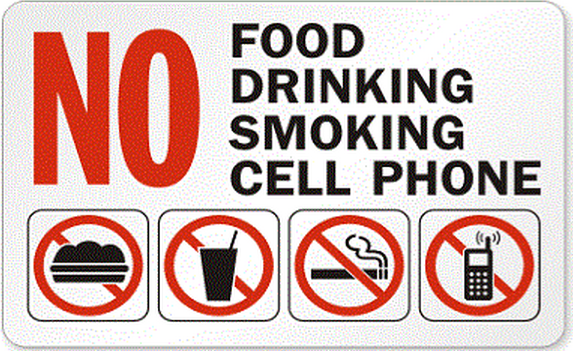 Singapore 'No food, drinking, smoking, cell phone' sign