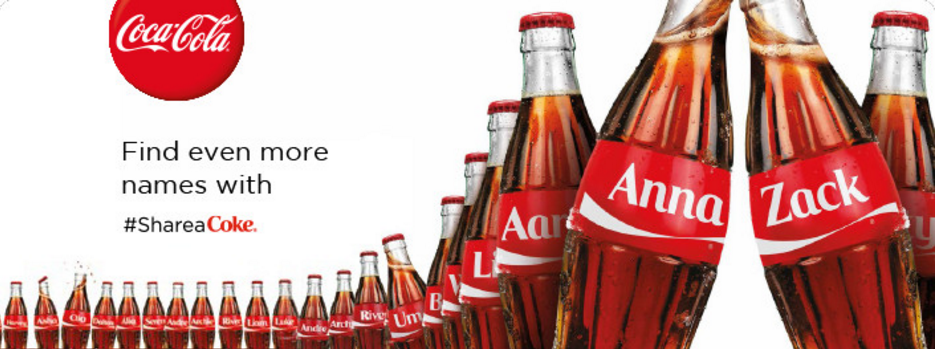 Bottles from 'Share a Coke' campaign