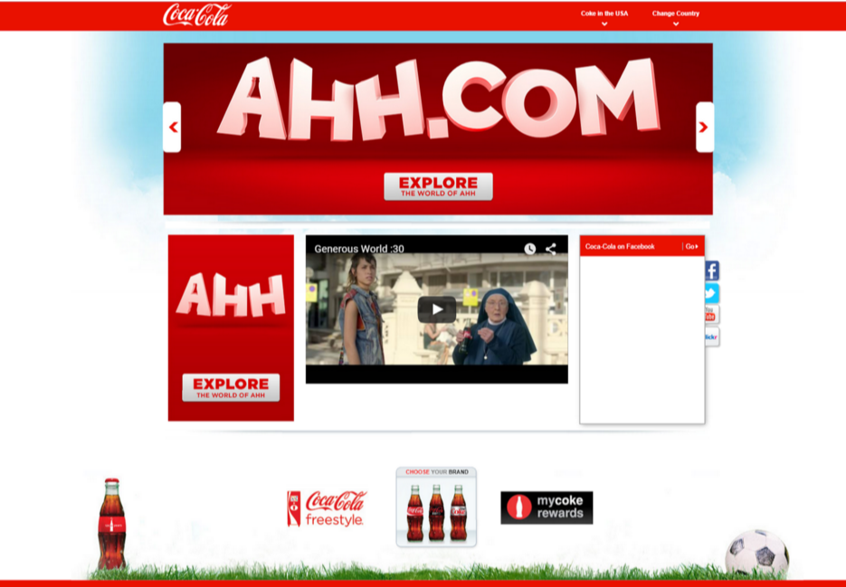 Coke USA website homepage