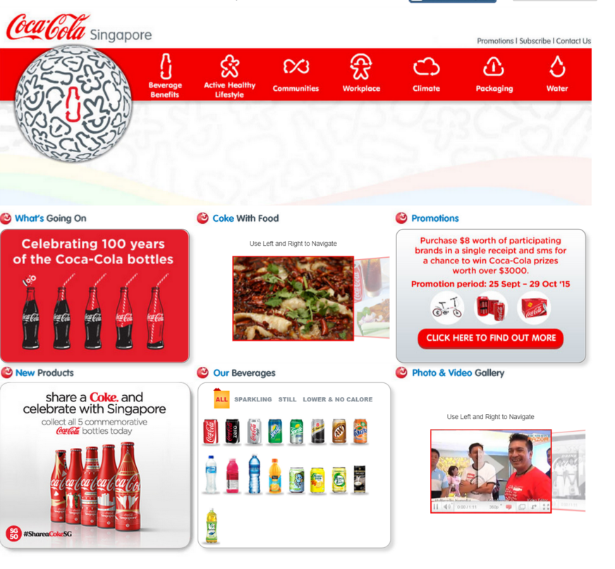 Image of Coca Cola Singapore home page