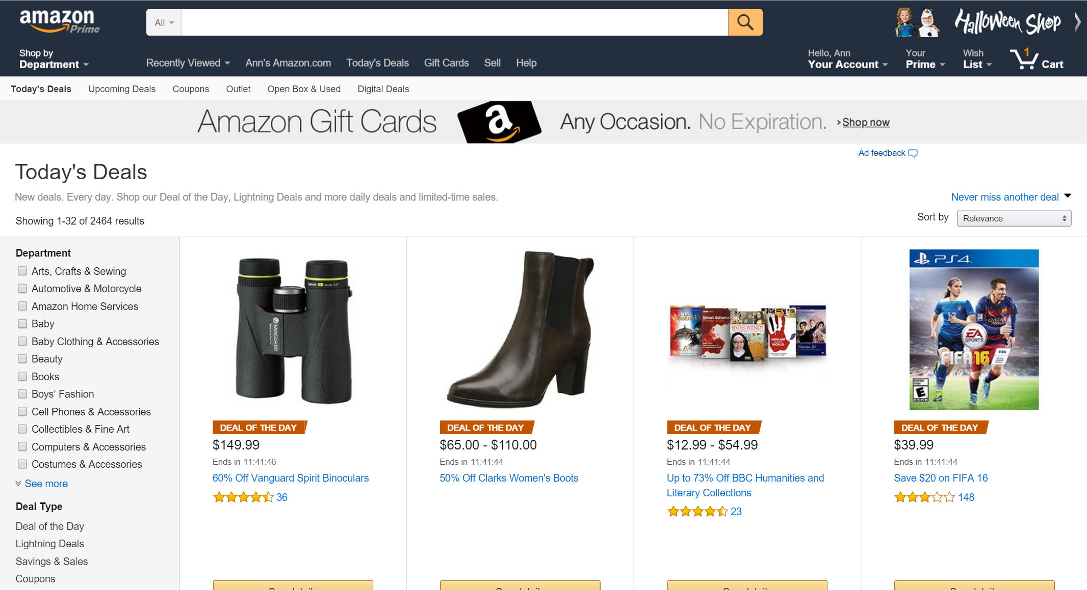 "Image of an Amazon.com ""Today's Deals"" page"