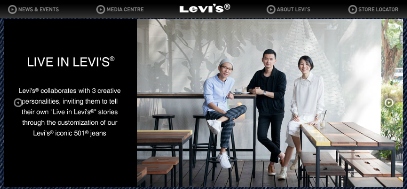 Levi's Singapore website homepage