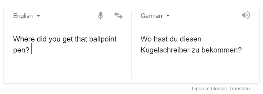 Google translate from English to German