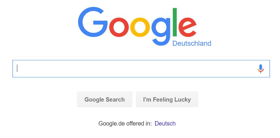 Google.de homepage in English