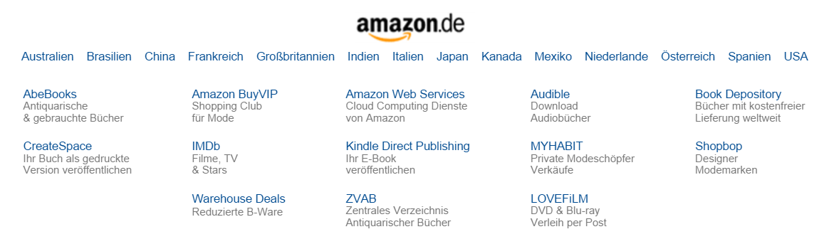 Amazon.de footer in German, showing different country and language options