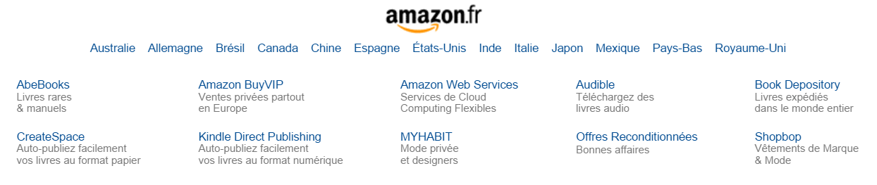 Amazon.fr footer in French, showing different country and language options