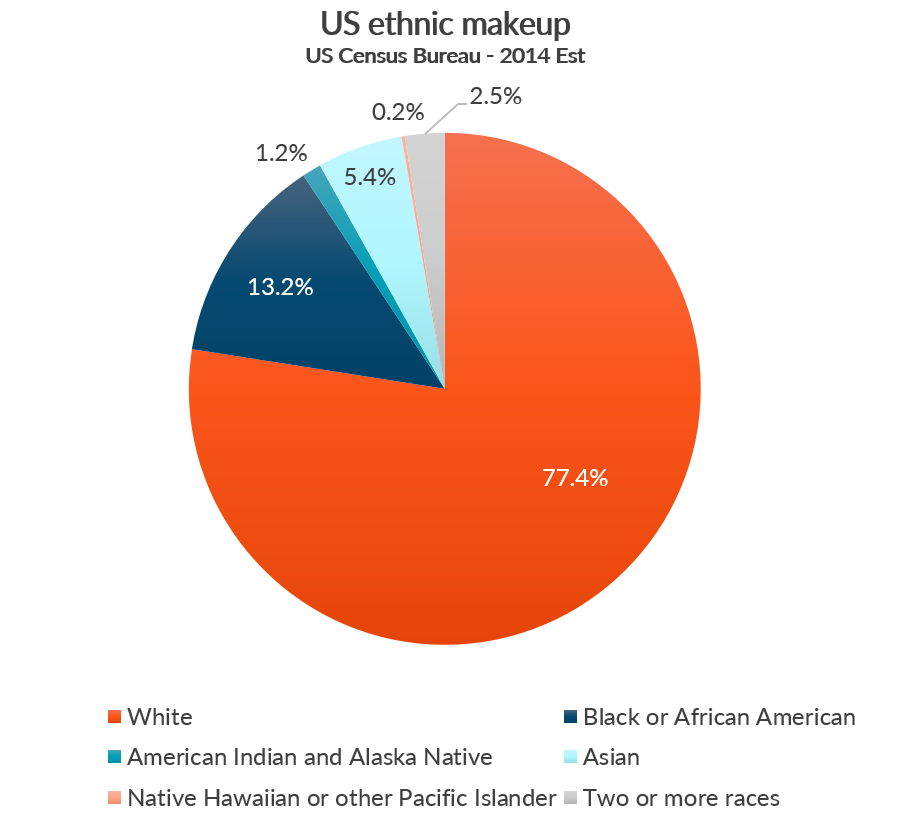 Chart showing breakdown of US ethnicity