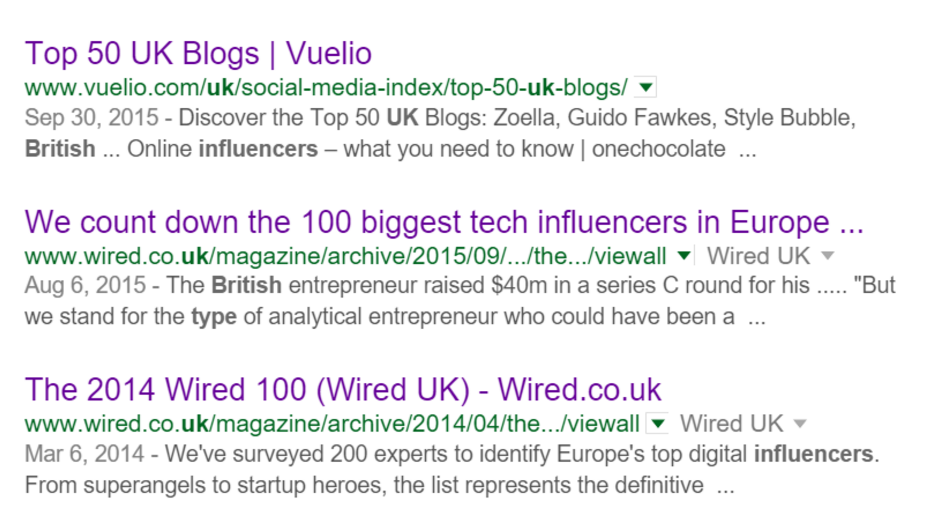 Sample results from Google ' Top UK Influencers' search