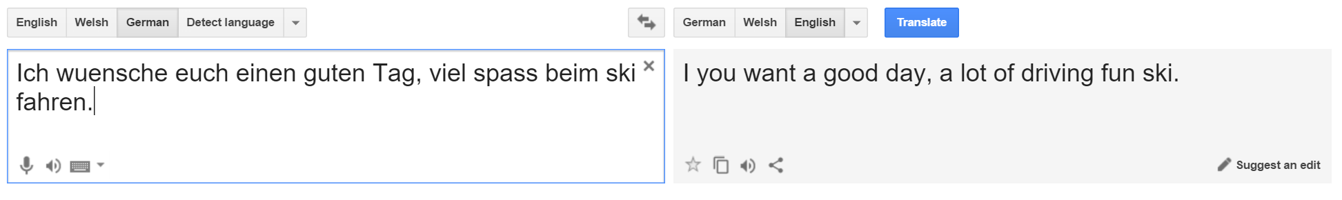 Google Translate German to English translation