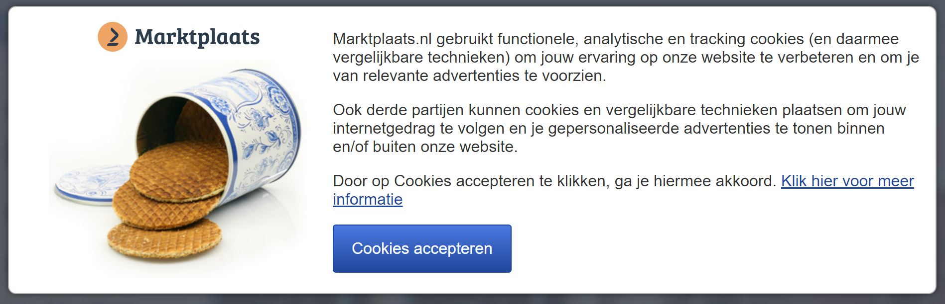 Example of a Dutch cookie acceptance popup