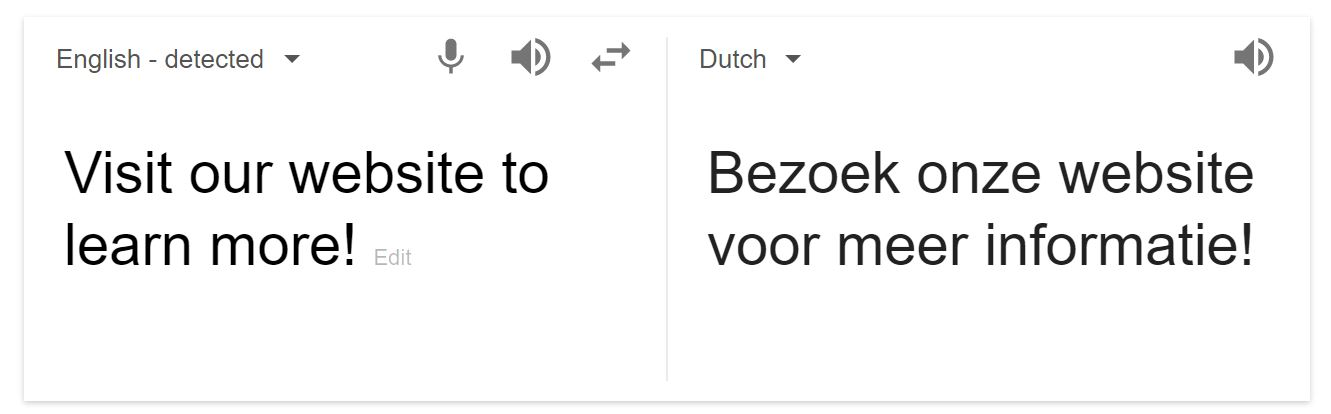 Google Translate English to Dutch