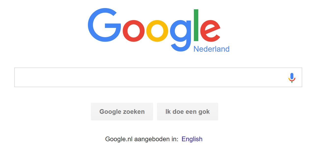 Google.nl home page