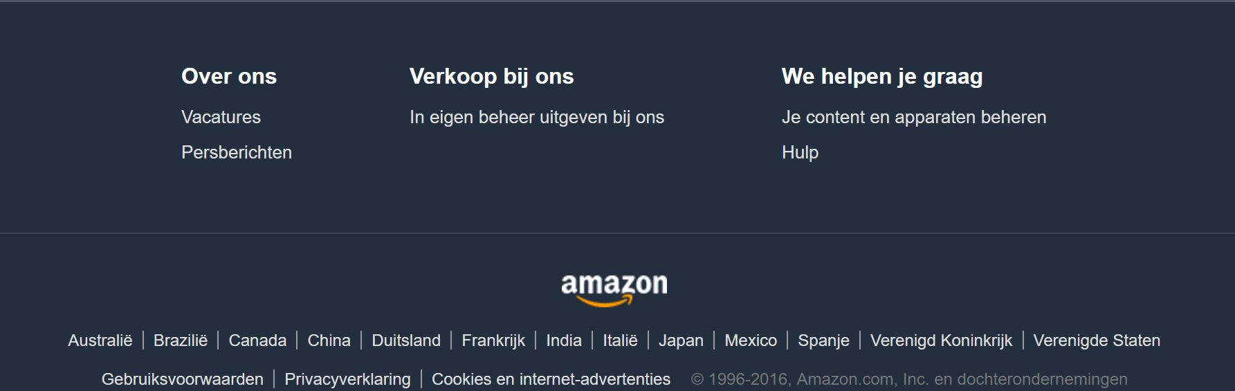 Amazon.nl footer