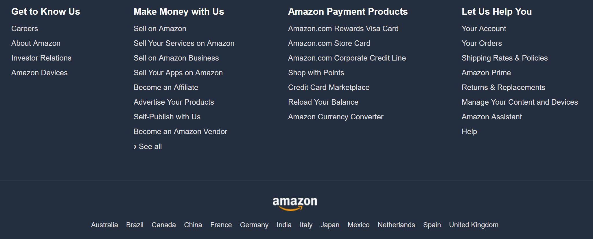 Amazon.com footer