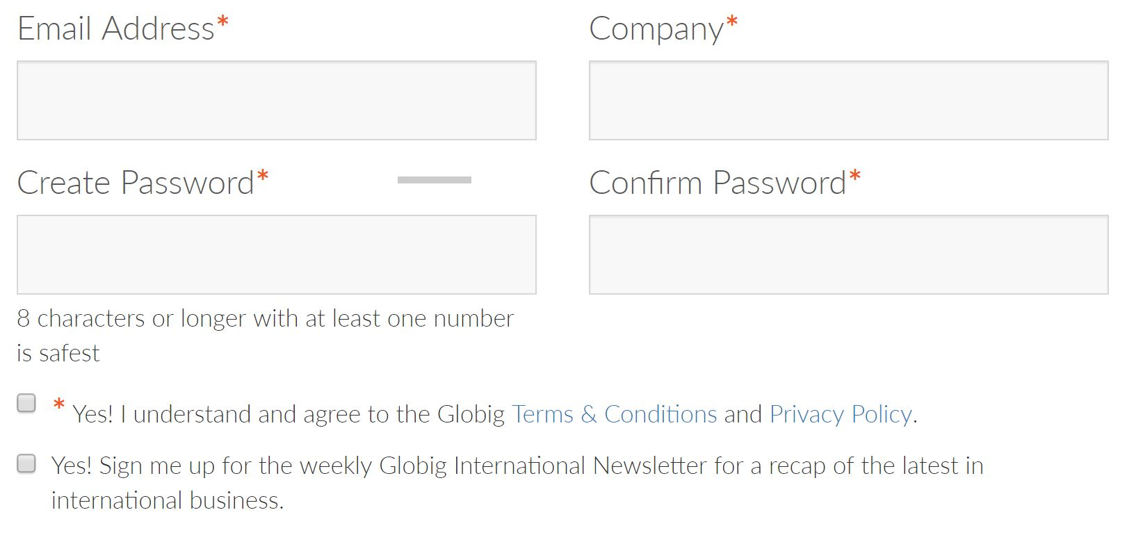 Globig opt-in screen
