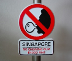 'No chewing gum' sign in Singapore